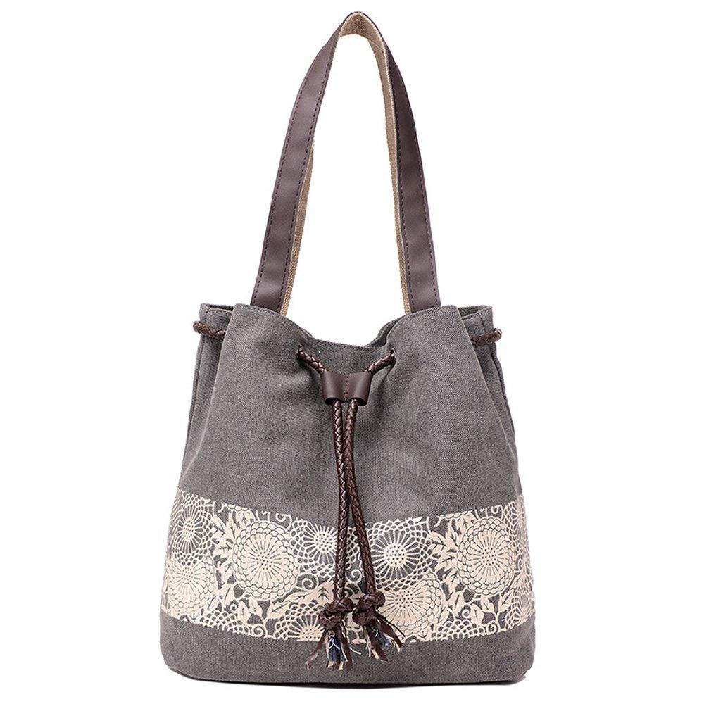 Hiigoo Printing Canvas Shoulder Bag Retro Casual Handbags Messenger Bags (Grey) by Hiigoo