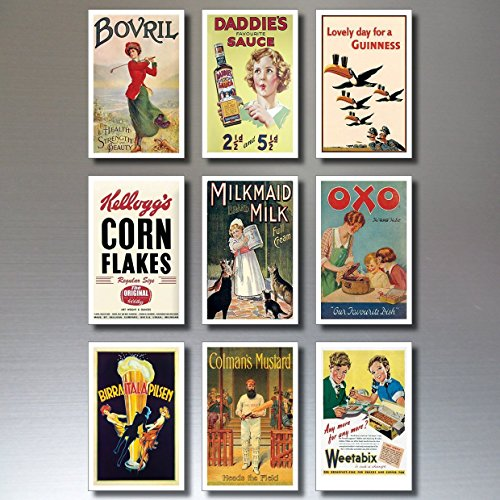 - 9 Vintage Retro Advert Poster Fridge Magnets - Shabby, Chic, Art Deco - No.2