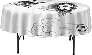 Sports Decor Microfiber Tablecloths Various Round Soccer Balls in Air Fast Kick Shoot in Flame Kickoff Space Artsy Sketch Table Cloth for Holiday Party D35 Inch Black White