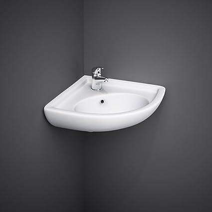 Lavabo sospeso ad angolo 44x36x19,5 lavandino per bagno salvaspazio ...