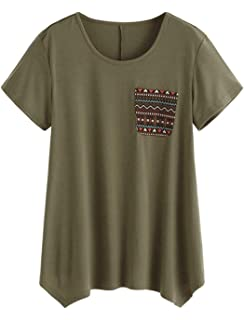 ROMWE Damen Locker Kurzarm T-Shirt mit Tasche Sommer Shirt Rundhals Swing  Tunika Oberteile 24c5b71cd6