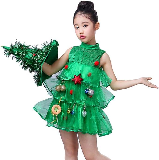 Funkeet Disfraz de árbol de Navidad con Purpurina para niña, Verde ...