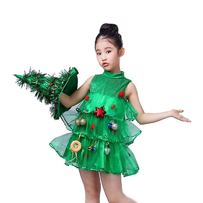 Amazon Com Little Girl Christmas Tree Costume Glitter Lil Xmas