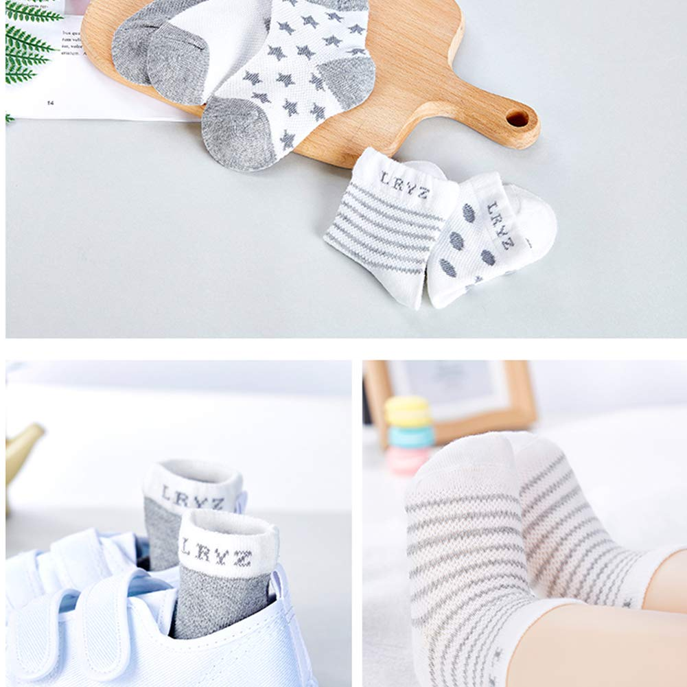 DierCosy 5Pairs Newborn Baby Organic Cotton Socks Soft Breathable Ankle Floor Socks for 0-12months Infant Toddler BabyProducts
