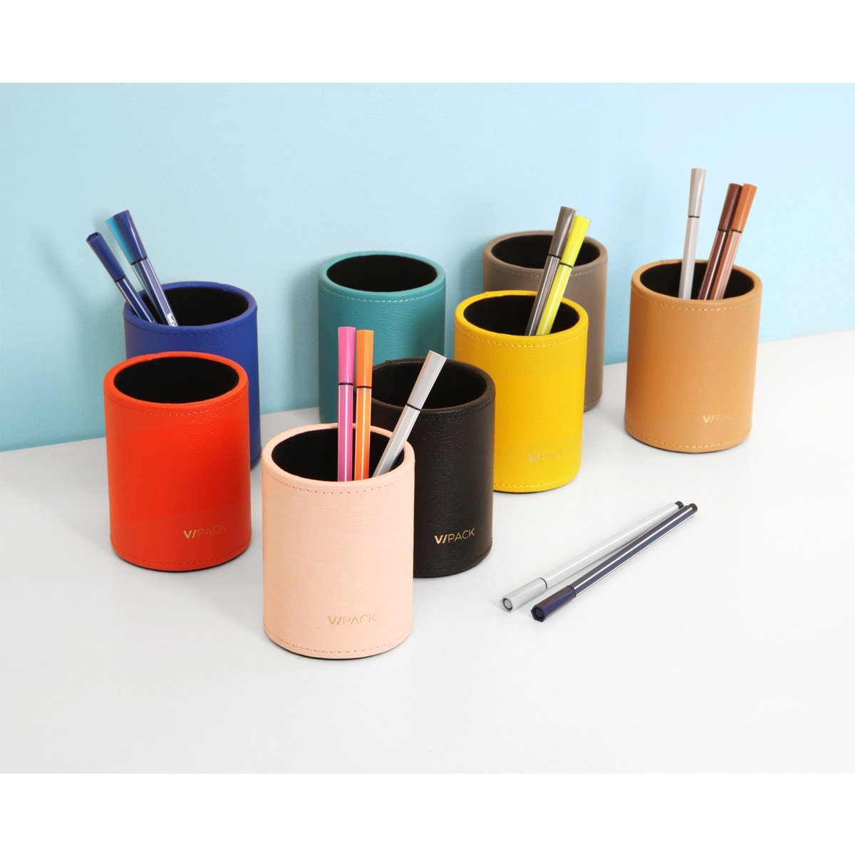 Peacock Blue VPACK Round Pens Pencils Cup Holder PU Leather Desk Stationery Organizer