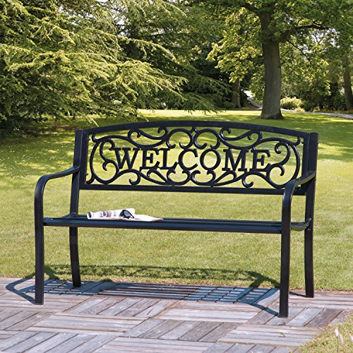 Transcontinental Group Cast Iron Garden Bench with Welcome Design, Black (Cast Iron Outdoor Bench)