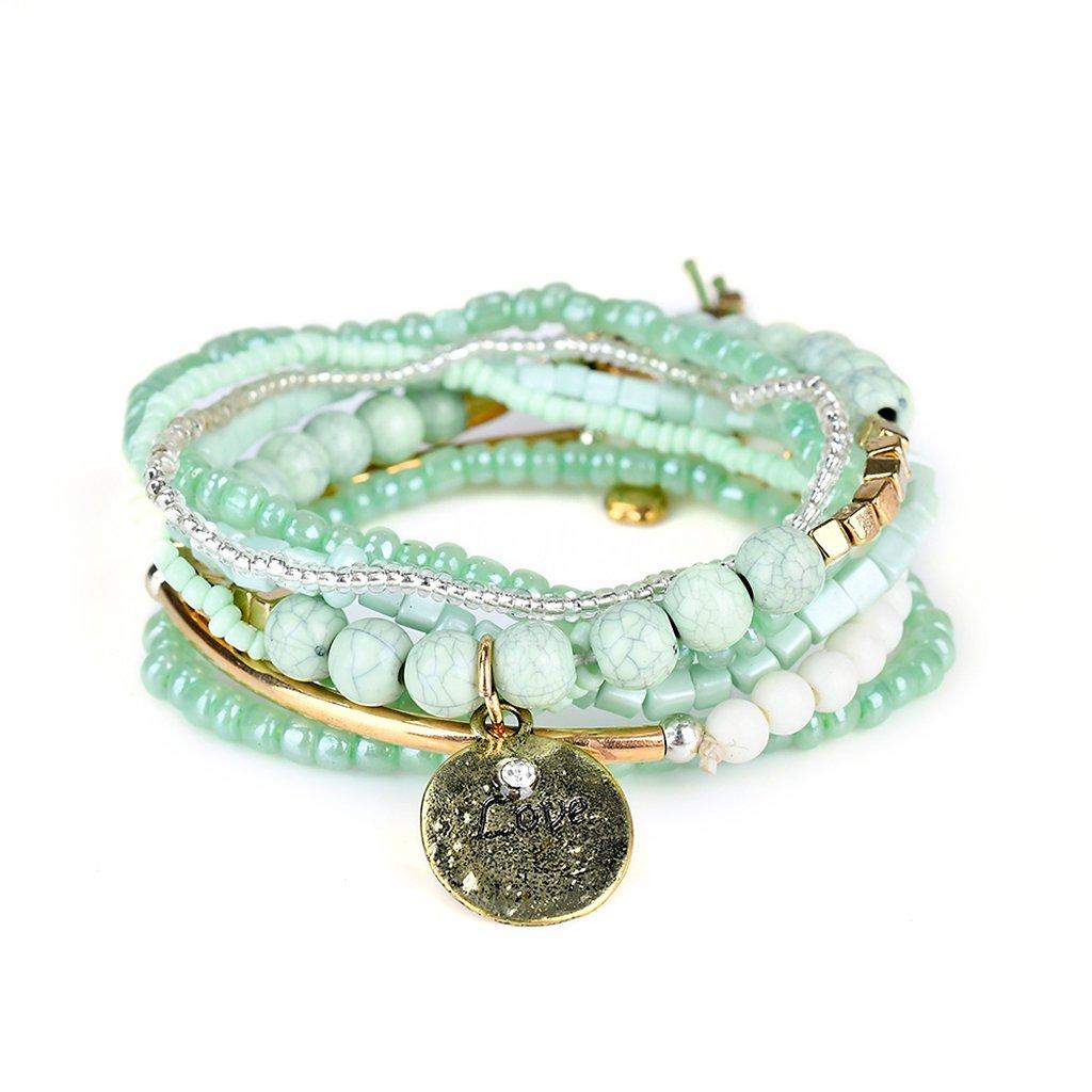 Lunji Bracelet Fantaisie Femme Rétro - Bracelet Bohème Chic Acrylique et Alliage 11AG40216