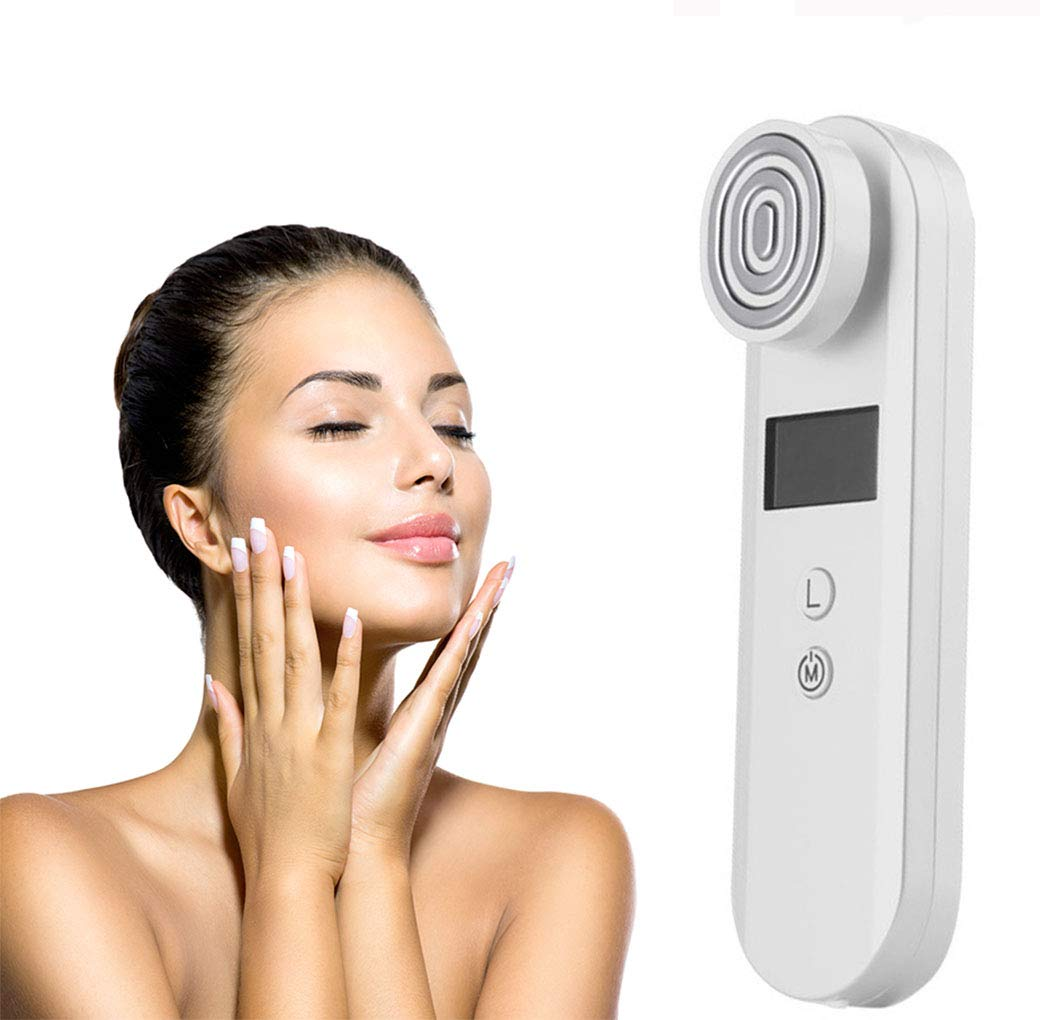 RFラジオ周波数美容機器、ダークサークル除去シワ除去フェイスネックリフト装置RF顔アンチエイジング美容デバイス顔マッサージャー,White B07KPC8R5W White
