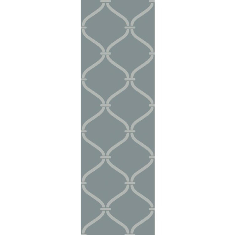 2.5' x 8' Egyptian Windows Slate Gray and Ivory White Area Throw Rug Runner