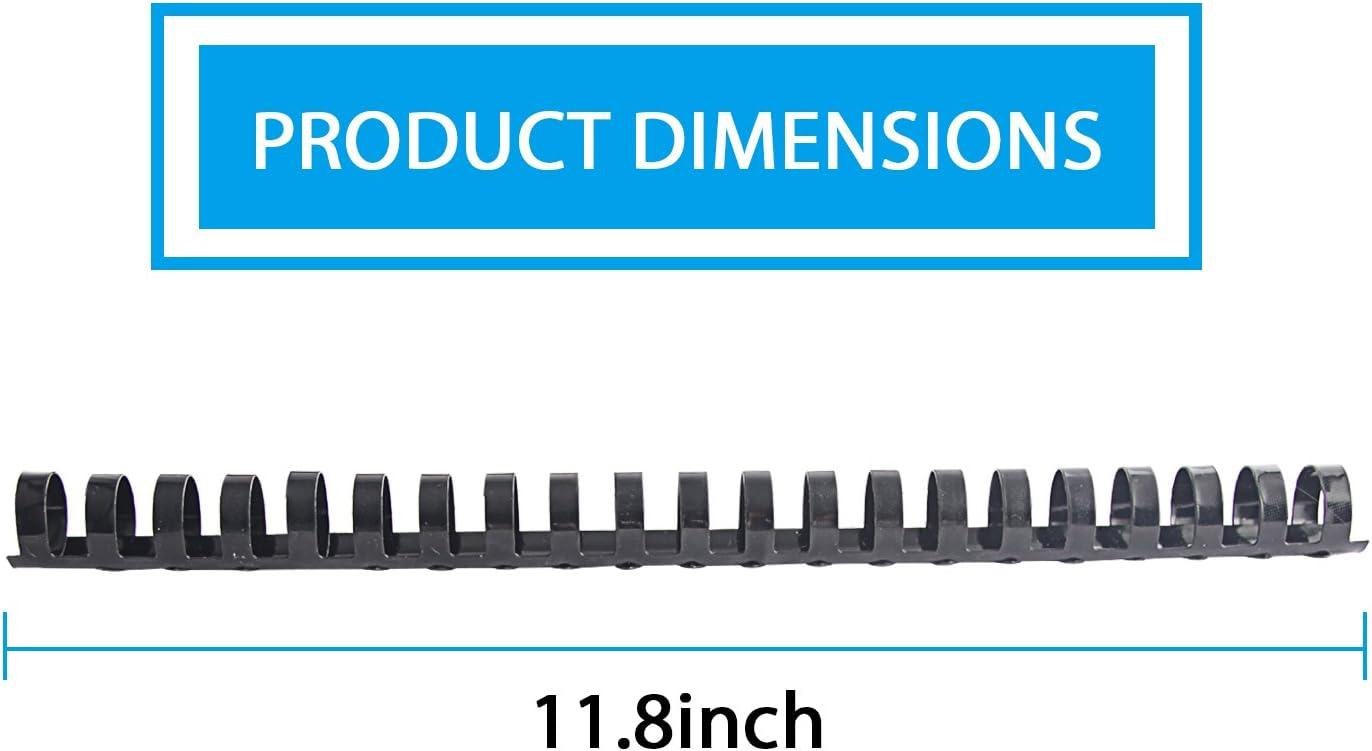 TIANSE 3//4 Plastic Comb Binding Comb Pack of 100 Combs 150 Sheets Capacity,21-Holes Adjustable,Black