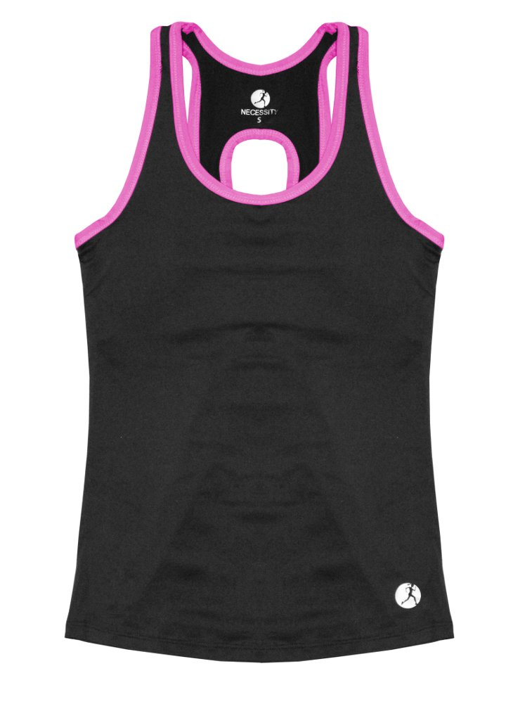 Necessity Women's Athletic Performance Tank Top with Built in Sport Bra, Pink, Medium