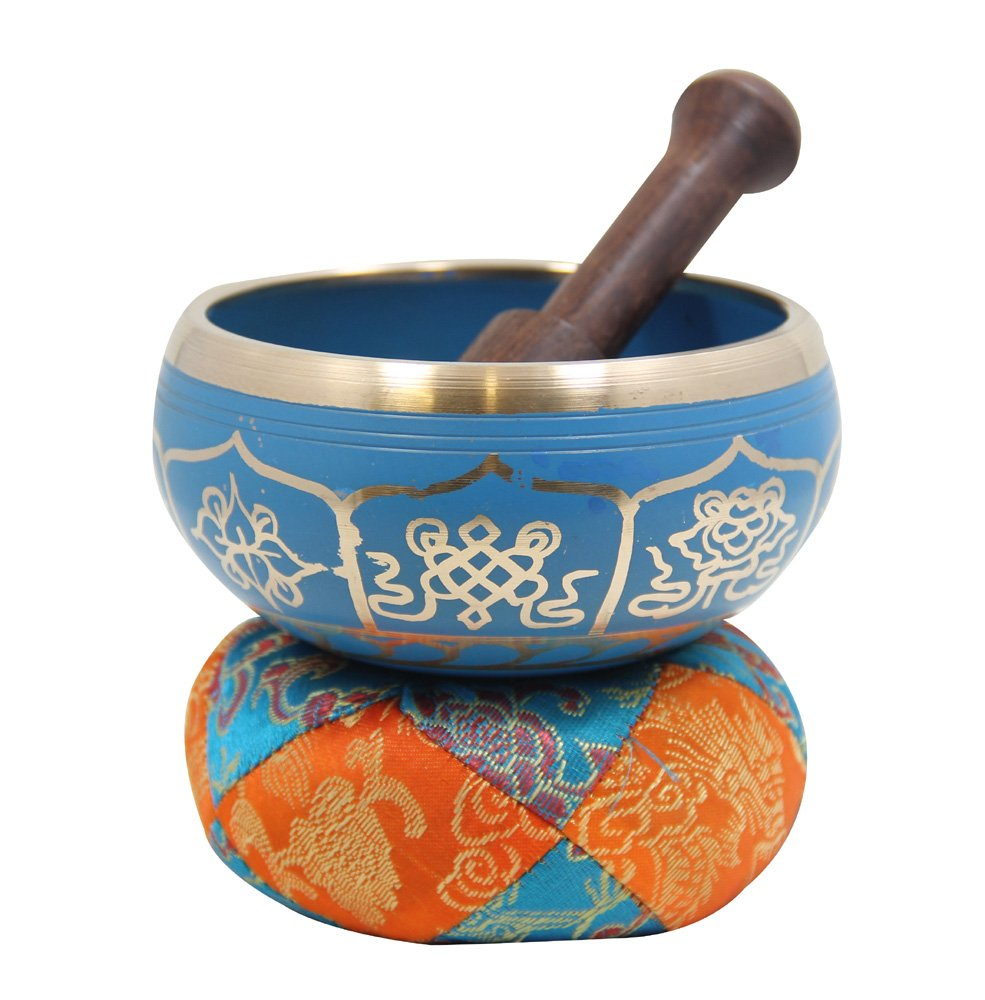 DharmaObjects Gorgeous Meditation 8 Lucky Symbols Singing Bowl/Cushion / Mallet (Turquoise) Shri Krishna Arts MUS267777