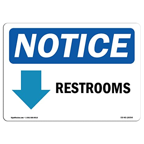 Amazon.com: Aviso de OSHA – Restroom [Flecha abajo] cartel ...