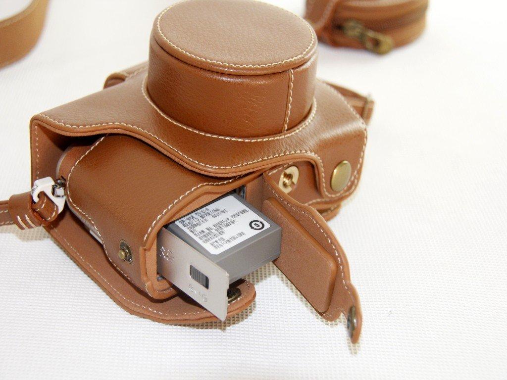 Unterseite-/Öffnungs-Version Sch/ützender PU-lederner Kamera-Kasten-Beutel F/ür Olympus PEN Lite E-PL8 EPL8 mit 14-42mm EZ F3.5-5.6 Objektiv mit B/ügel-Gurt und Speicherkarten-Kasten-Wei/ß