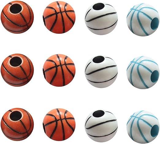 60 unids Colorido patrón de Baloncesto Granos Redondos Pulsera ...
