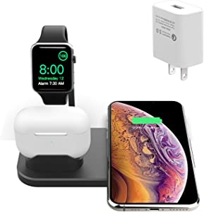 BNCHI 3 in 1 Wireless Charging Station for AirPods and iWatch Series 5/4/3/2/1,Fast Wireless Charger for iPhone 11 Pro/11 Pro Max/XS Max/XR/X(with QC 3.0 Adapter) (Black)