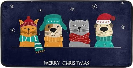 Kitchen Dish Drying Mat Holiday Pets Having Fun! Christmas Cats and Dogs
