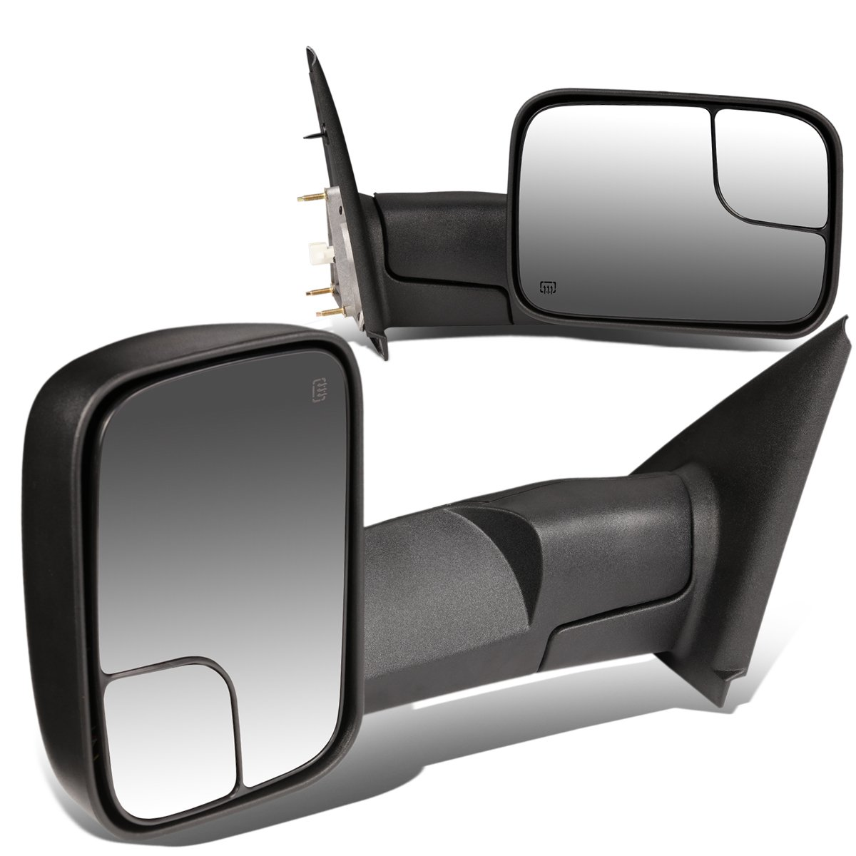 For Dodge RAM Pair of Black Powered + Heated Glass + Manual Foldable Side Towing Mirrors by Auto Dynasty
