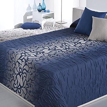 Couvre lit 280x270 cm tissé jacquard LOST bleu pour lit de 180x200