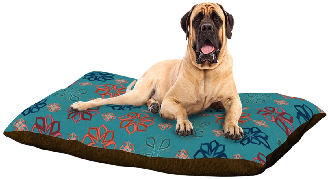 X-Large 40\ Kess InHouse Jolene Heckman Turquoise Mini  Teal Flowers Dog Bed, 50 by 60-Inch