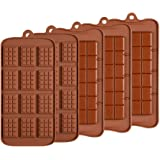 5 Pcs Silicone Break Apart Chocolate Molds, TuNan Non-Stick Candy Protein and Energy Bar Mould Baking Tray - 2 Types