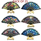 woaiwo-q Spanish Floral Folding Hand Fan Flowers Pattern Lace Handheld Fans Size 9'' Pack of 25 Random Color Suitable for Wedding Dancing Church Party Gifts