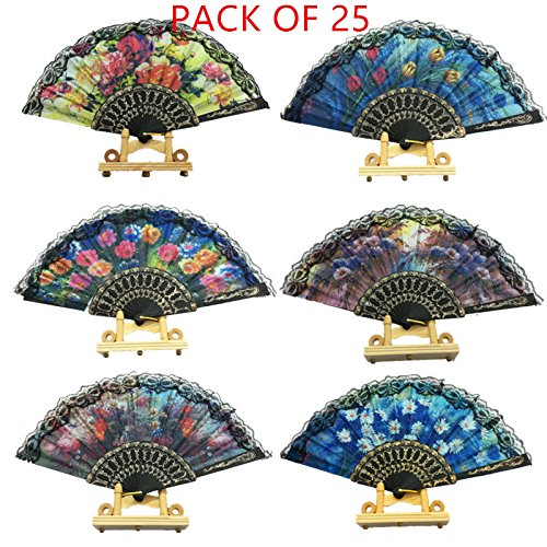 woaiwo-q Spanish Floral Folding Hand Fan Flowers Pattern Lace Handheld Fans Size 9'' Pack of 25 Random Color Suitable for Wedding Dancing Church Party Gifts by woaiwo-q