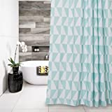 Patterned Waterproof Fabric Shower Curtain Mold Resistant Blue White/ 72 x 72 inch