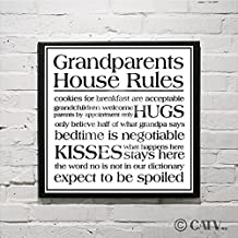 """Grandparents house rules self-adhesive fabric vinyl decal (11""""H x 14"""" W)"""