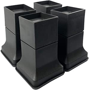 FONDDI Bed and Furniture Risers 2, 4 or 6 Inch Stackable Heavy Duty Anti Slip to Castor Wheels - Protective Rubber Bottom - for All Types of Desks, Couches, Sofas, Chairs, Dorms -Set of 4 Black