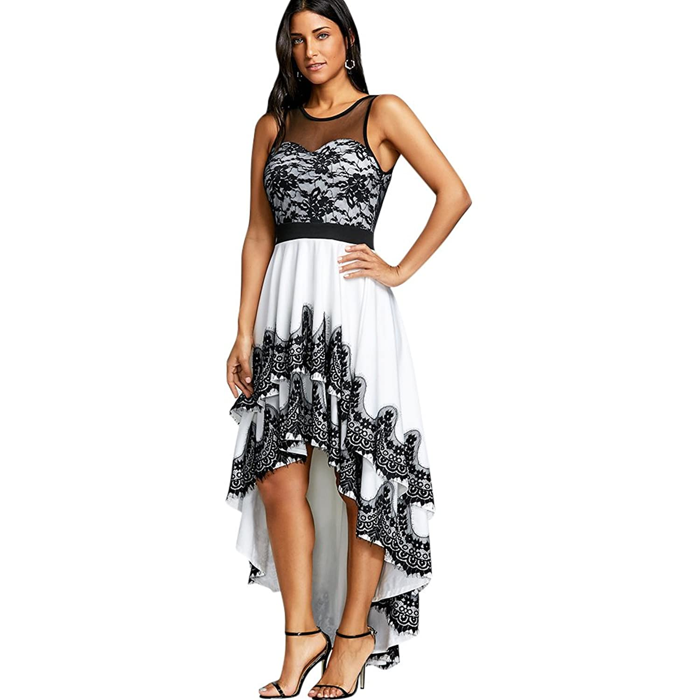 Cascading High Rock Abendkleid Damen schwarz weiß Spitzenkleid ...