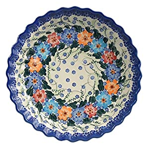 Traditional Polish Pottery, Round Pie or Casserole Baking Dish 10in / 25cm, Boleslawiec Style Pattern, O.201.Garland