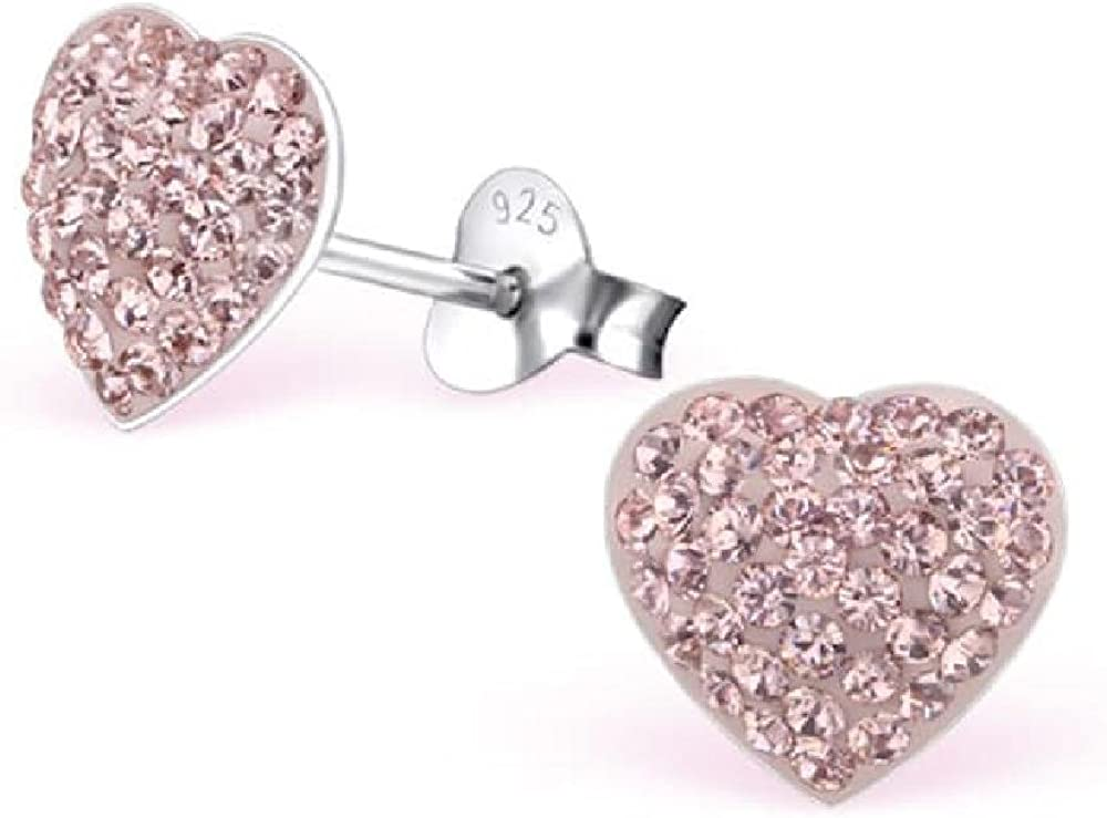 So Chic Jewels Childrens 925 Sterling Silver Swan Ear Studs with Crystals