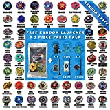 Beyblade Random Starter Set 2 Pack from Metal Fusion, Metal Fury, Metal Master, Zero G Shogun Steel + 1 Free Launcher & 5 Piece Random Parts Set - Tips, Energy Rings, Spin Tracks, Face Bolts