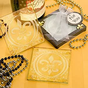 Fleur de Lis Design Glass Coaster Set, 1