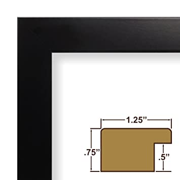 14x17 solid black custom size complete picture frame