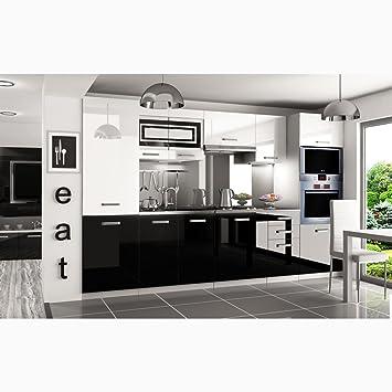 JUSTyou Syntka Pro LED Cuisine équipée Complète 300 Cm Couleur: Noir /  Blanc Laqué Haute