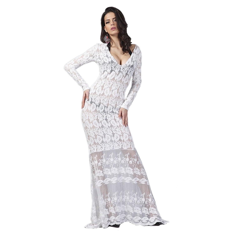 Europa Frauen White Lace Floral V-Ausschnitt Langarm BodyCon duennes ...