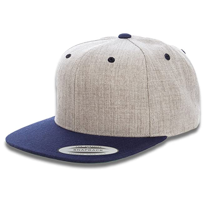 2fd592a0a2a7d Flexfit Two Tone Classic Yupoong Snapback Baseball Cap (Heather Navy ...