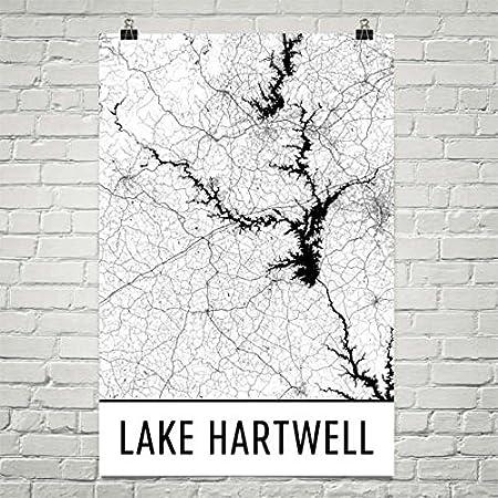 Modern Map Art Lac Hartwell SC, Géorgie Lake Hartwell, carte de Géorgie 12 «X 18» Géorgie Lake Hartwell carte de Géorgie 12 «X 18»
