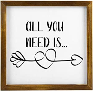 Valentines All You Need is Love Arrow Hanging Wood Sign with Frame Decor for Garden,Quote Saying with Words Rustic Wood Wall Sign,Personalized Text Funny Wooden Farmhouse Quotes Label l4djrkd8fekt