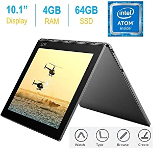 2017 Newest Lenovo Yoga Book 10.1-inch FHD Touch IPS 2-in-1 Tablet PC, Intel Atom x5-Z8550 1.44GHz, 4GB DDR3 RAM, 64GB SSD, Bluetooth, HD Graphics 400, Android 6.0.1 Marshmallow OS- Gunmetal Grey