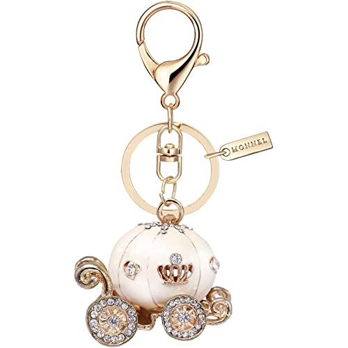 Bling White Princess Pumpkin Carriage Keychain with Pouch Bag MZ881-2