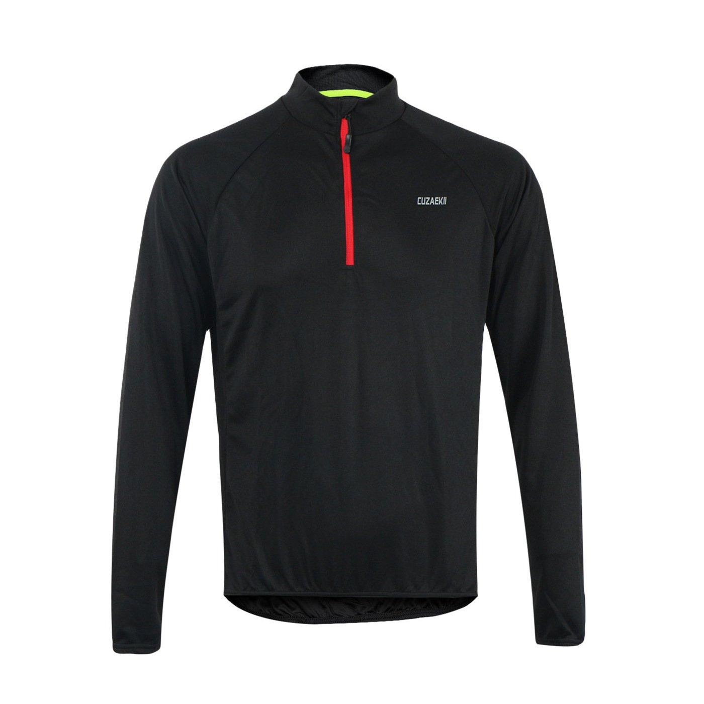 Cuzaekii Mens Long Sleeve Cycling Jersey MTB Bike Shirt Clothing for Summer /& Cool Weather