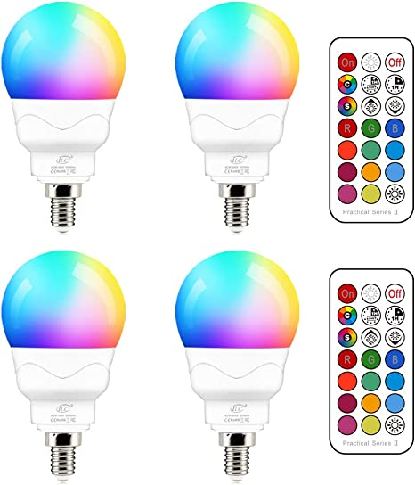 Candle Base 4 Pack Color Changing RGB 40w Equivalent 5W E12 LED Light Bulbs A15 Small Base Candelabra Round Light Bulb 2700K Warm White 12 Colors 2 Modes Timing with Remote Control