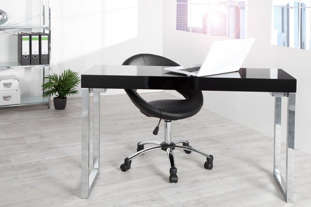 Invicta Interior Design Laptoptisch Weiß Desk 120x40 cm Hochglanz schwarz Tisch Beistelltisch Schreibtisch Schminktisch