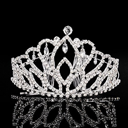 Elegant Tiara Crystal Hair Crown - Rhinestones Headband for Queen, Bridal, Princess in Wedding, Party and Birthday 1-2 - by NIPOO]()