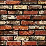 Carolui 3D Wall Paper Brick Stone Rustic Effect Self-adhesive Wall Sticker Home Decor Home Kitchen Living Decoration wall sticker