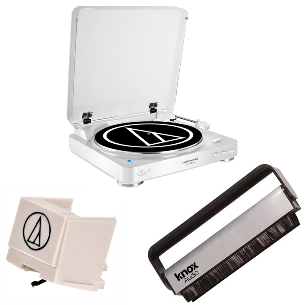 Audio Technica AT-LP60WH-BT Bluetooth Wireless Belt Turntable w/ Replacement Stylus & Vinyl Brush (White)