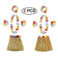 Ungfu Mall 2 juegos de pulseras de flores hawaianas con falda de hierba hawaiana para la